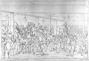 Sketsa Lukisan Penangkapan Pangeran Diponegoro oleh Raden Saleh