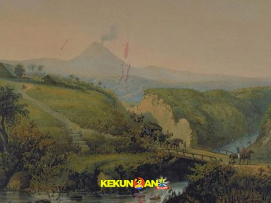 Litografi Pemandangan Malang karya Abraham Salm 1865-1872